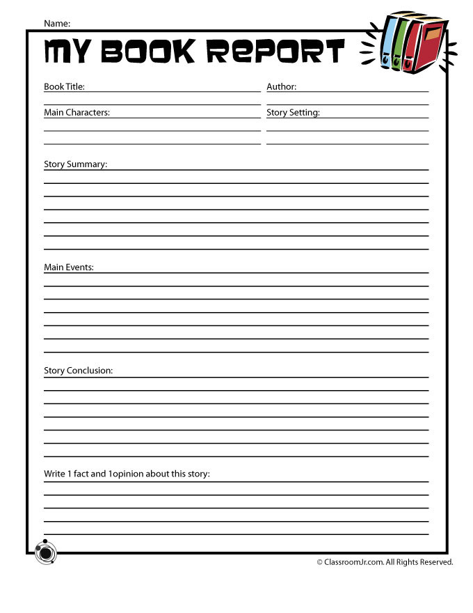 Summary Worksheets 5th Grade Book Report forms