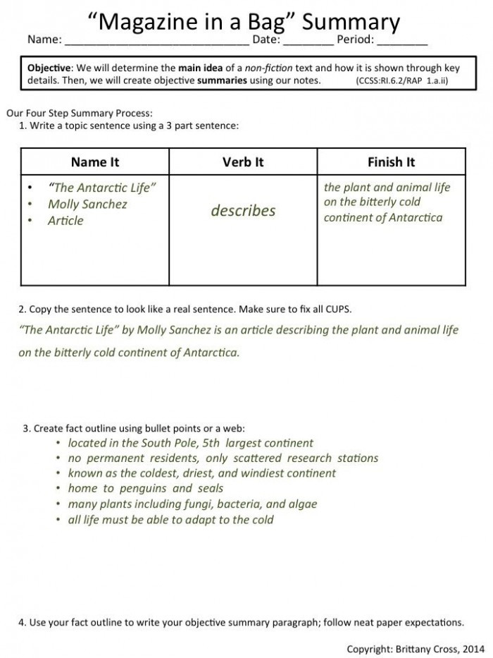 Summary Worksheets 5th Grade Nonfiction Text Summary Template Worksheets