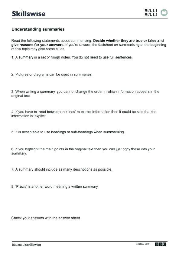Summary Worksheets 5th Grade Summarizing Text Worksheets – Leter