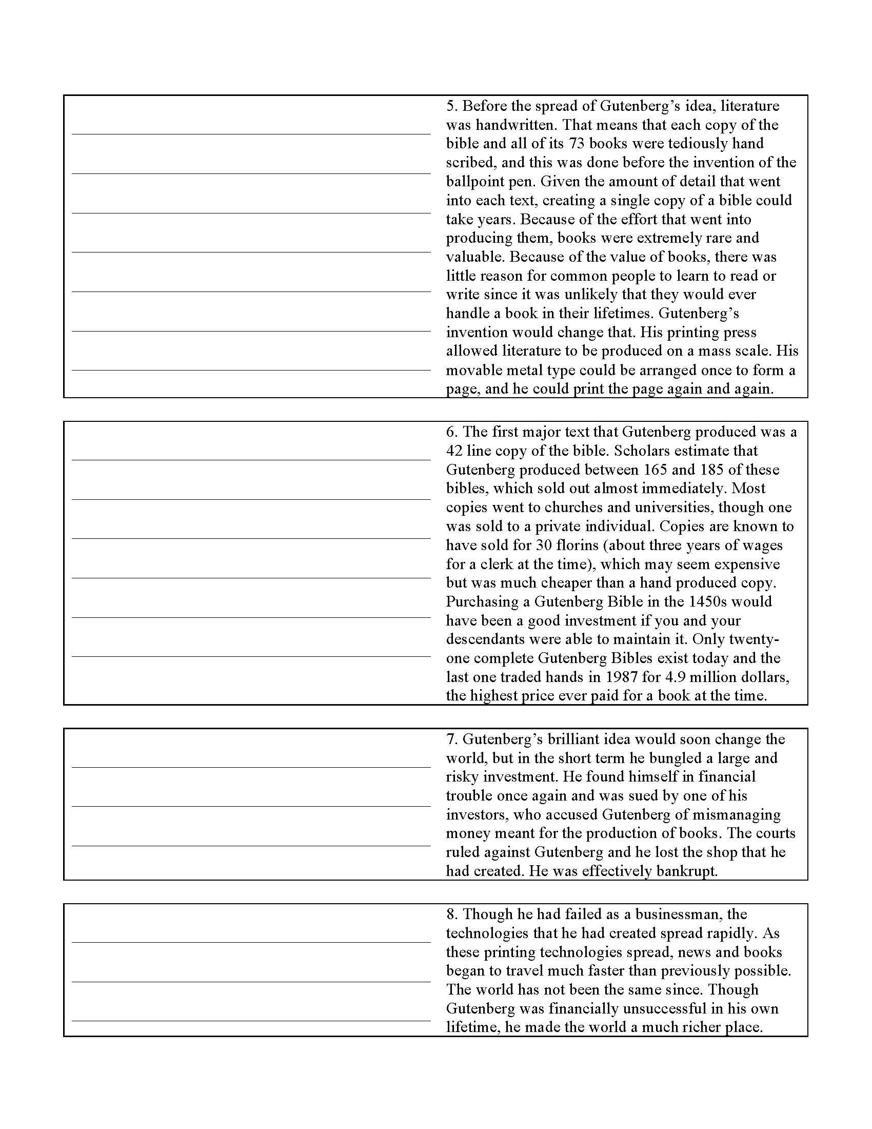 Summary Worksheets 5th Grade Summary Test 1