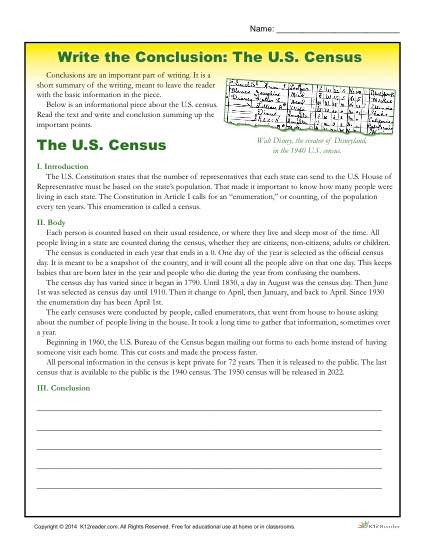 Summary Worksheets 5th Grade Write the Conclusion Writing Activity the U S Census