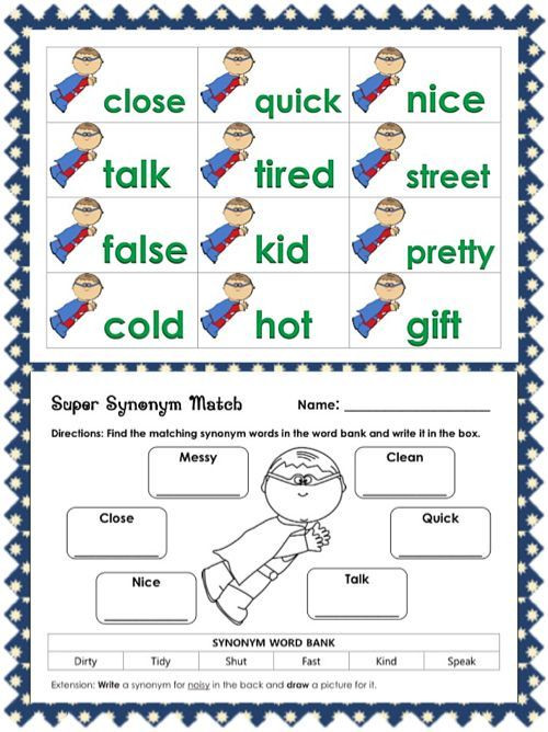 Synonyms Worksheet First Grade Synonym Worksheets for 1st Grade