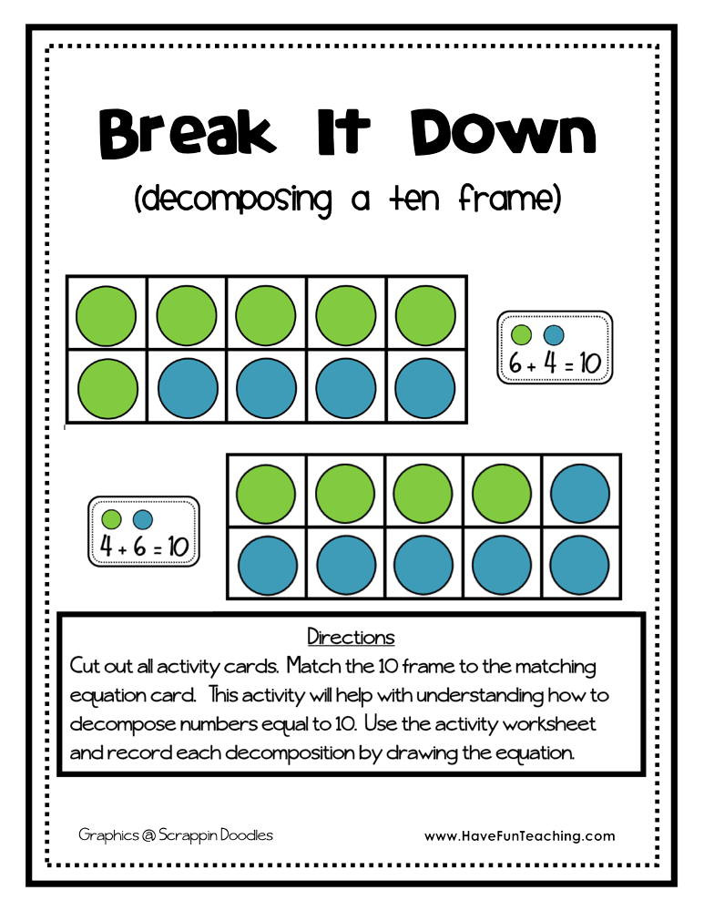 Ten Frame Worksheets First Grade De Posing A Ten Frame Activity