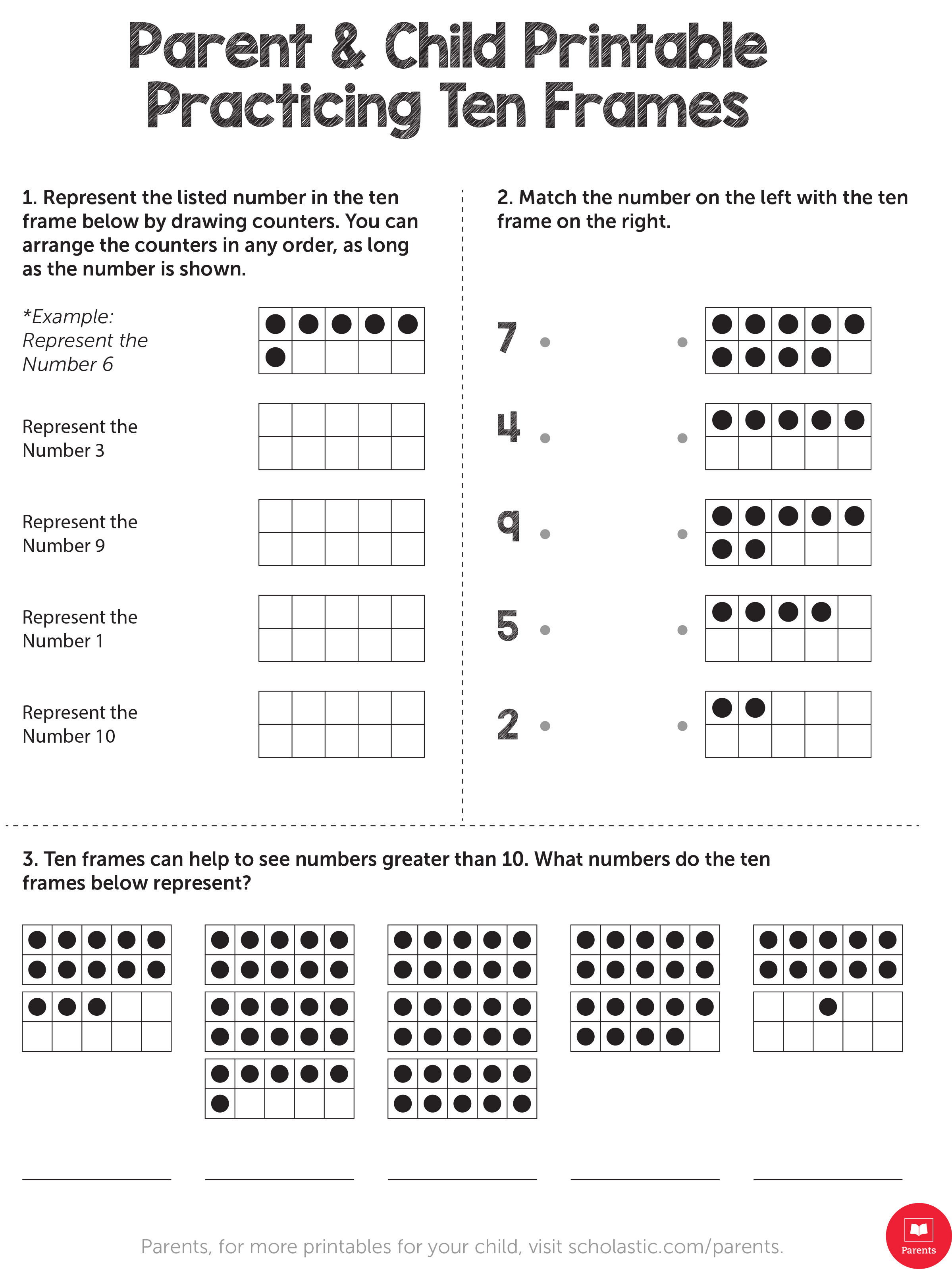 Ten Frame Worksheets First Grade Learn Your Child S Math with This Ten Frame Printable