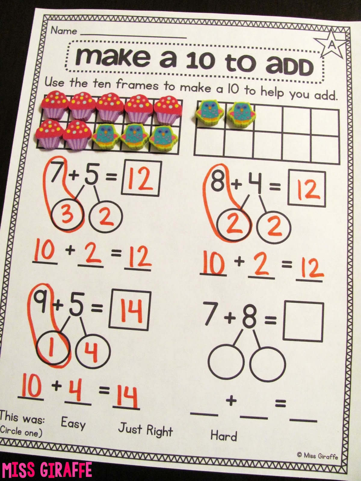 Ten Frame Worksheets First Grade Miss Giraffe S Class Making A 10 to Add