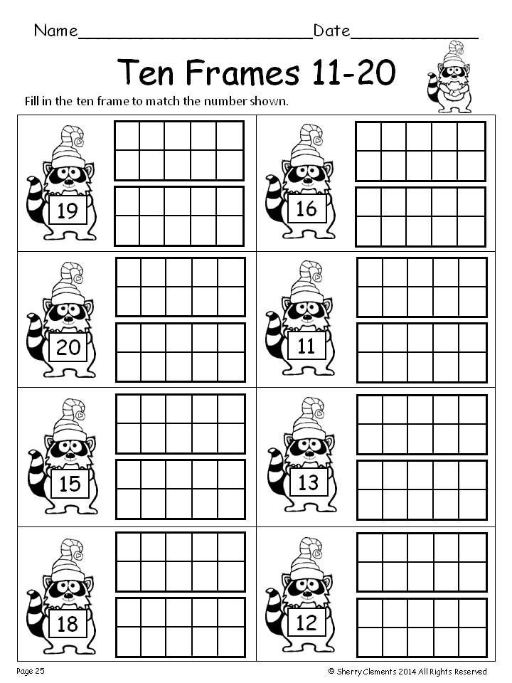 Ten Frame Worksheets First Grade Winter Ten Frames 11 20
