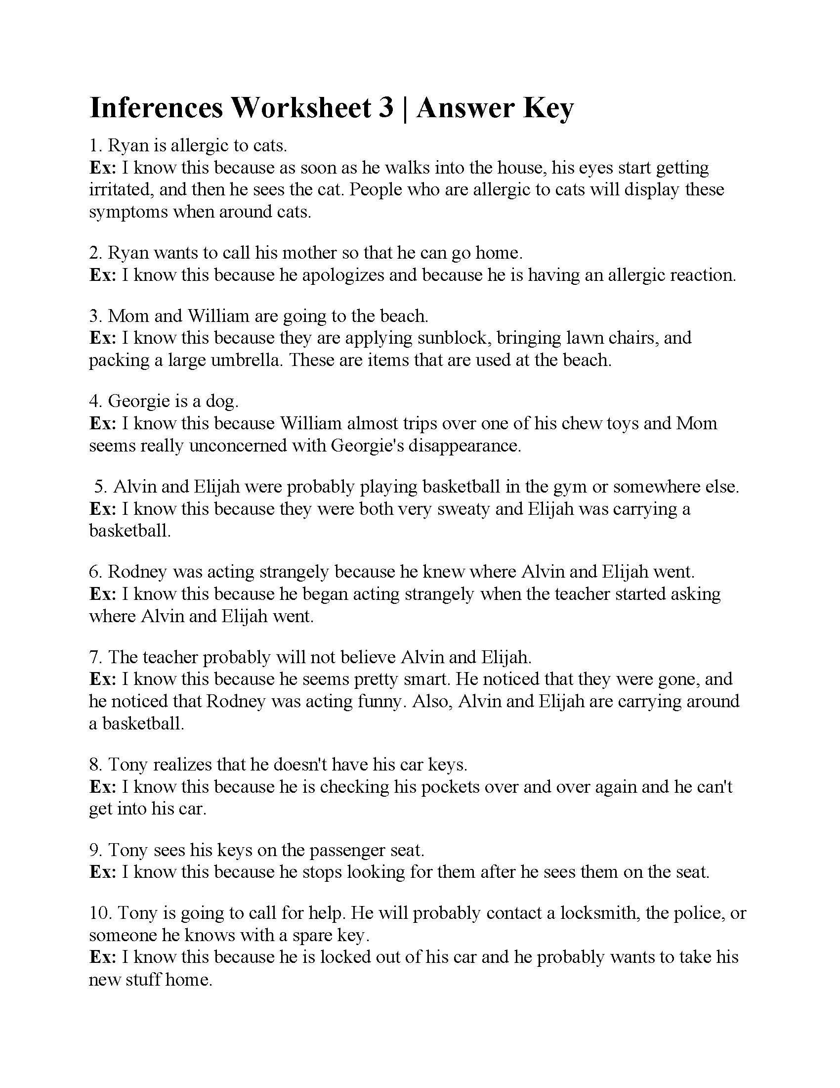 Text Evidence Worksheets 3rd Grade Inferences Worksheet 3