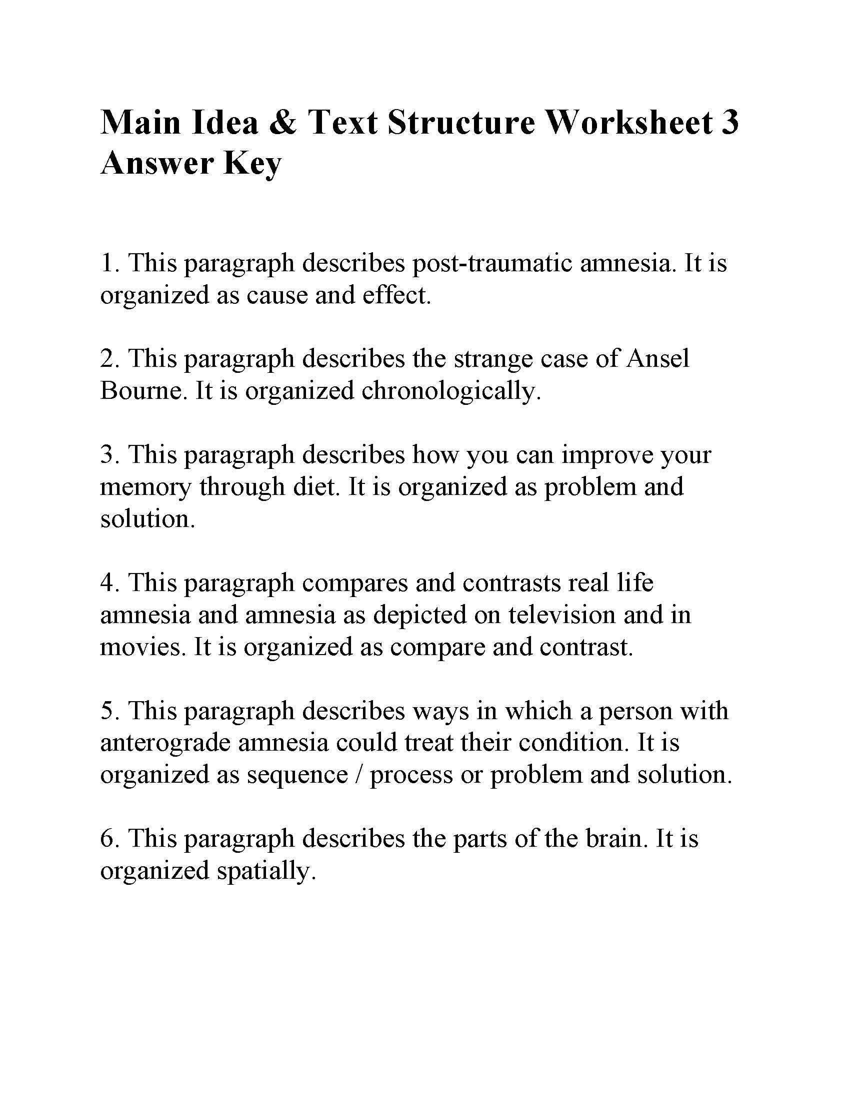 Text Structure 3rd Grade Worksheets Main Idea and Text Structure Worksheet 3