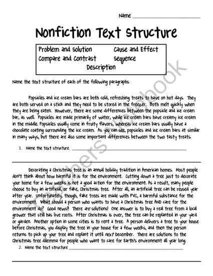 Text Structure 3rd Grade Worksheets Nonfiction Text Structure Worksheet From Crafting