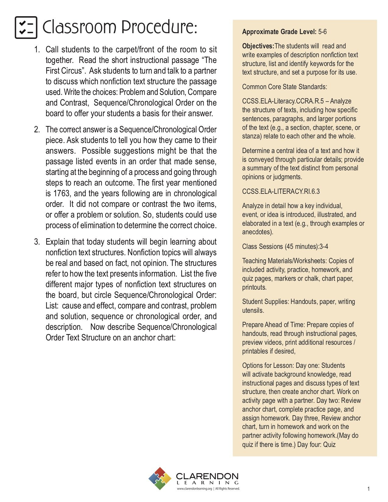 Text Structure 3rd Grade Worksheets Sequence Chronological order Nonfiction Text Structure