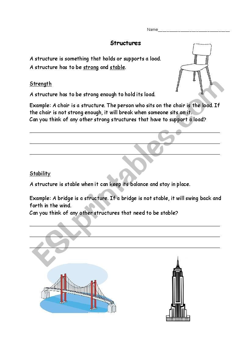 Text Structure Worksheets 3rd Grade Grade 3 Science Structures Esl Worksheet by ashely