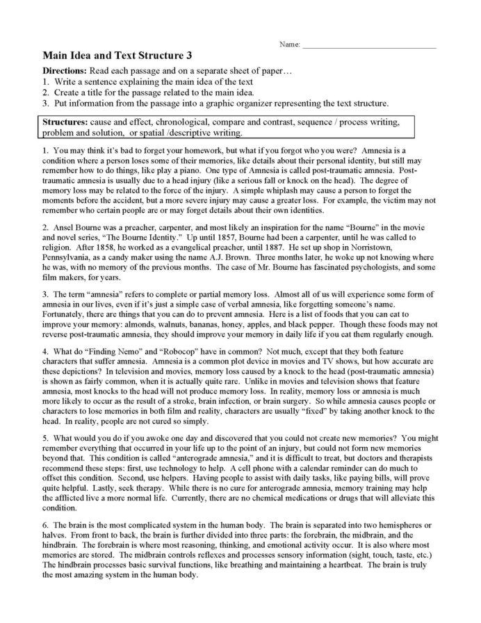 Text Structure Worksheets 3rd Grade Main Idea and Text Structure Worksheet Preview Ereading