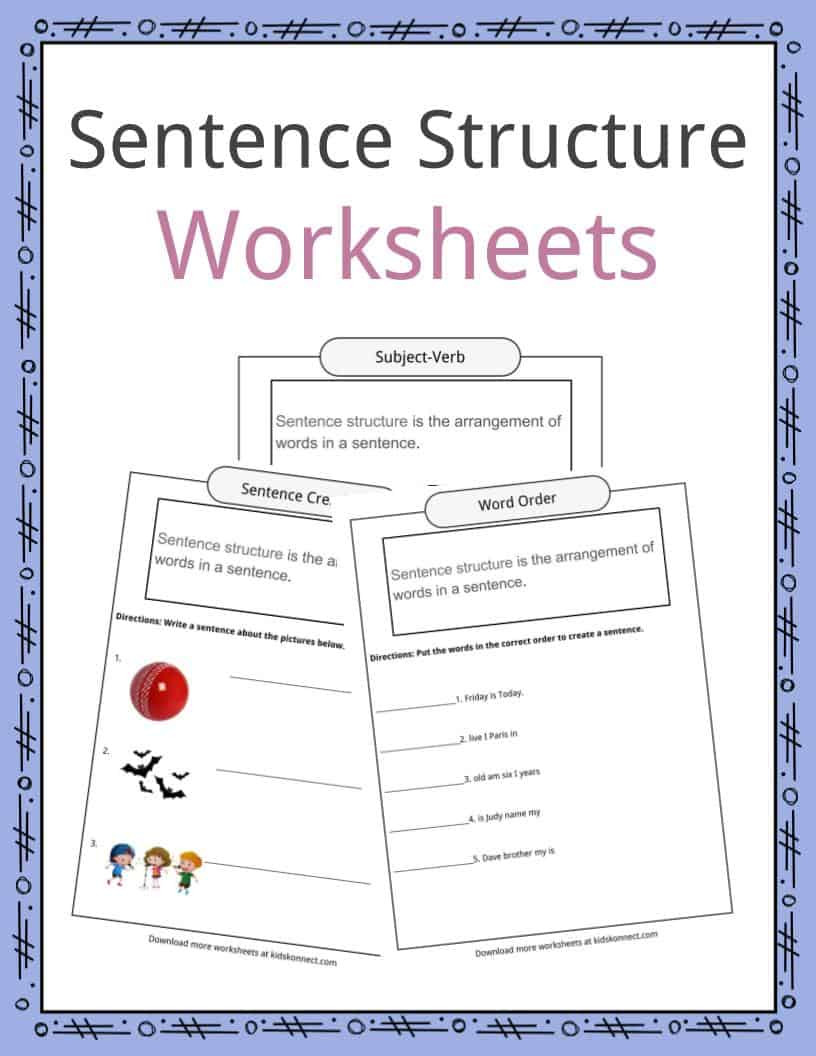 Text Structure Worksheets 3rd Grade Sentence Structure Worksheets Examples Definition for Kids