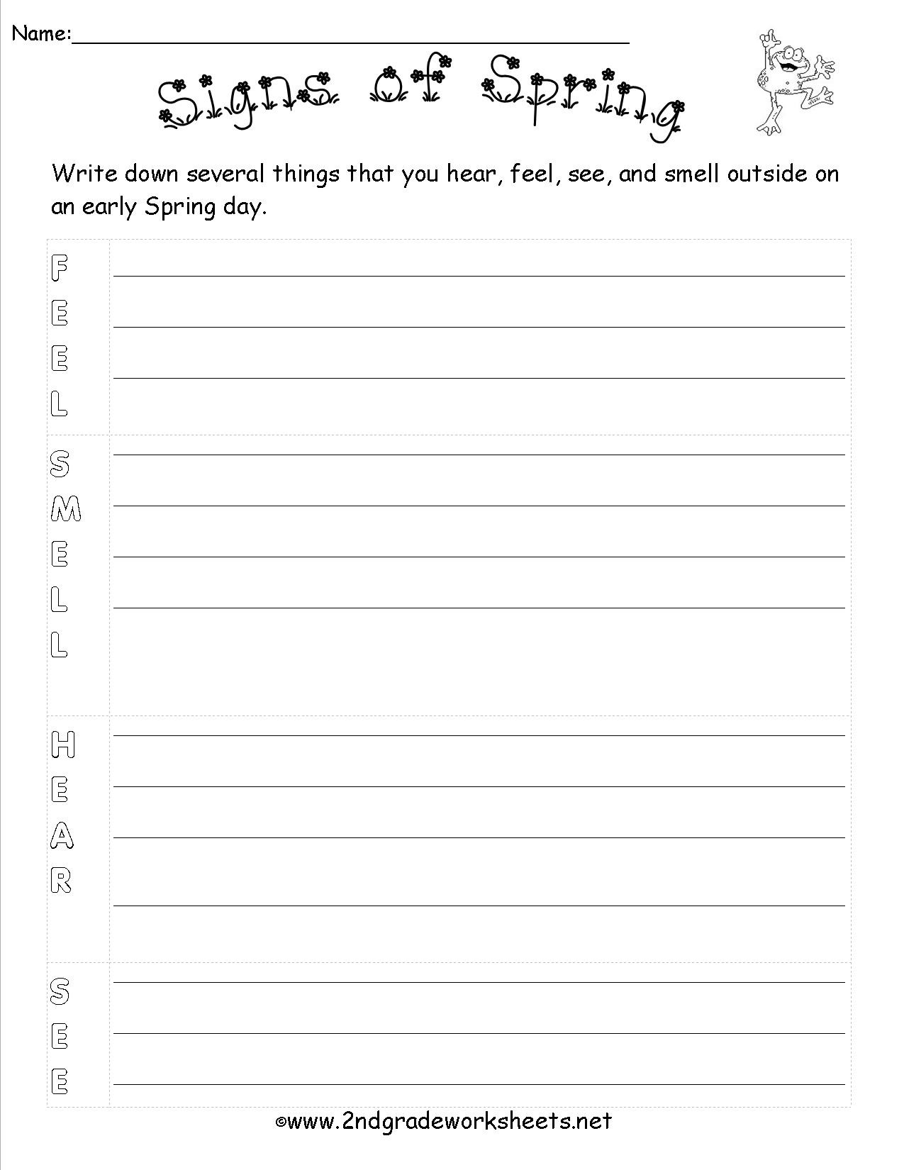 Theme Worksheets 2nd Grade Spring theme Worksheets