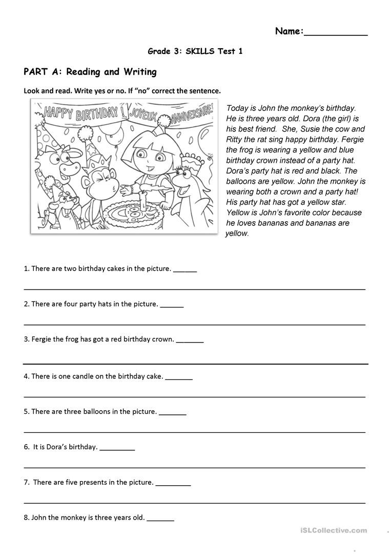 Theme Worksheets 5th Grade Reading and Listening Test Birthday and toys theme
