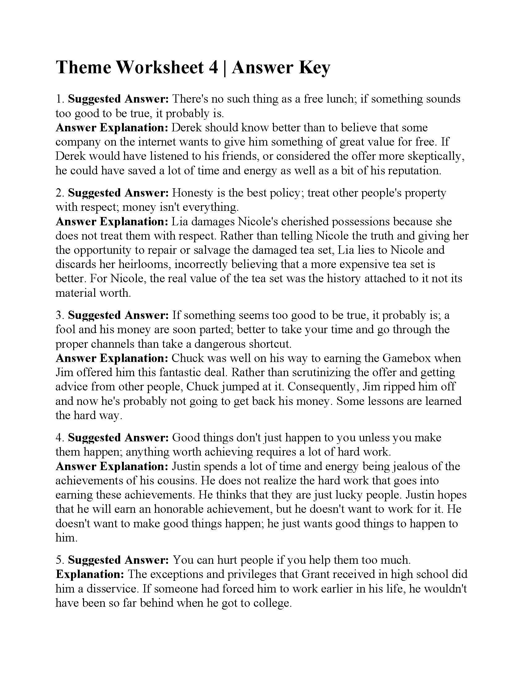 Theme Worksheets 5th Grade theme Worksheet 4