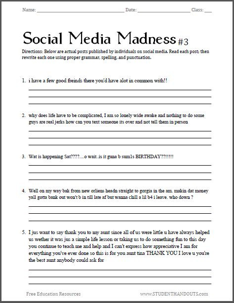Third Grade Editing Worksheets 17 [ English 12 Worksheets ]