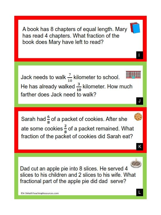 Third Grade Fraction Word Problems 4th Grade Number