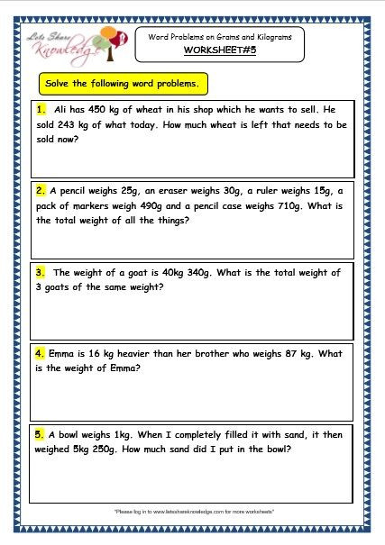 Third Grade Fraction Word Problems Grade 3 Maths Worksheets 12 7 Word Problems On Grams and