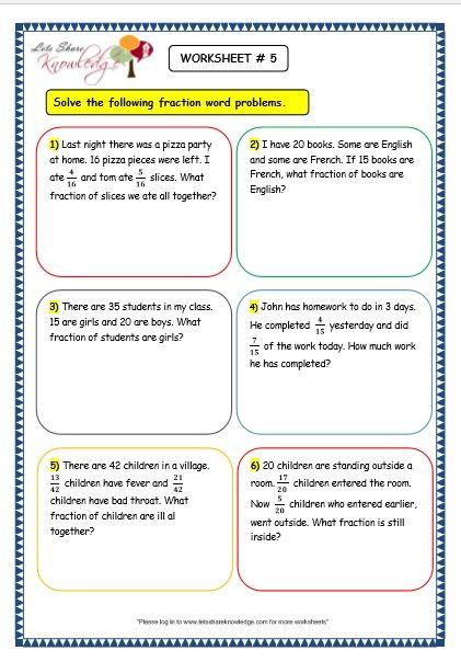 Third Grade Fraction Word Problems Grade 3 Maths Worksheets 7 9 Fraction Word Problems