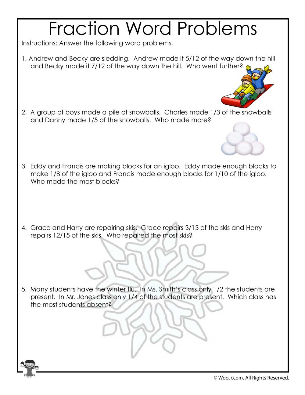 Third Grade Fraction Word Problems January Fractions Word Problems Worksheet