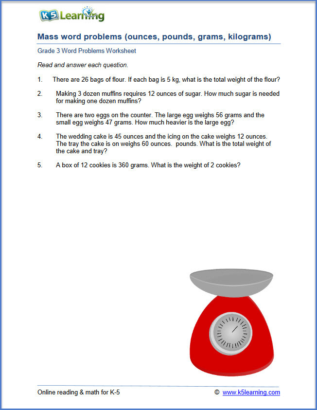 Third Grade Fraction Word Problems K5 Learning Adds Math Word Problems for Grade 3 Students