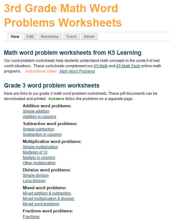 Third Grade Fraction Word Problems Math Word Problem Worksheets for Grade 3 Students