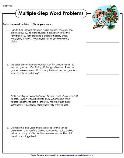 Third Grade Fraction Word Problems Multiple Step Word Problem Worksheets