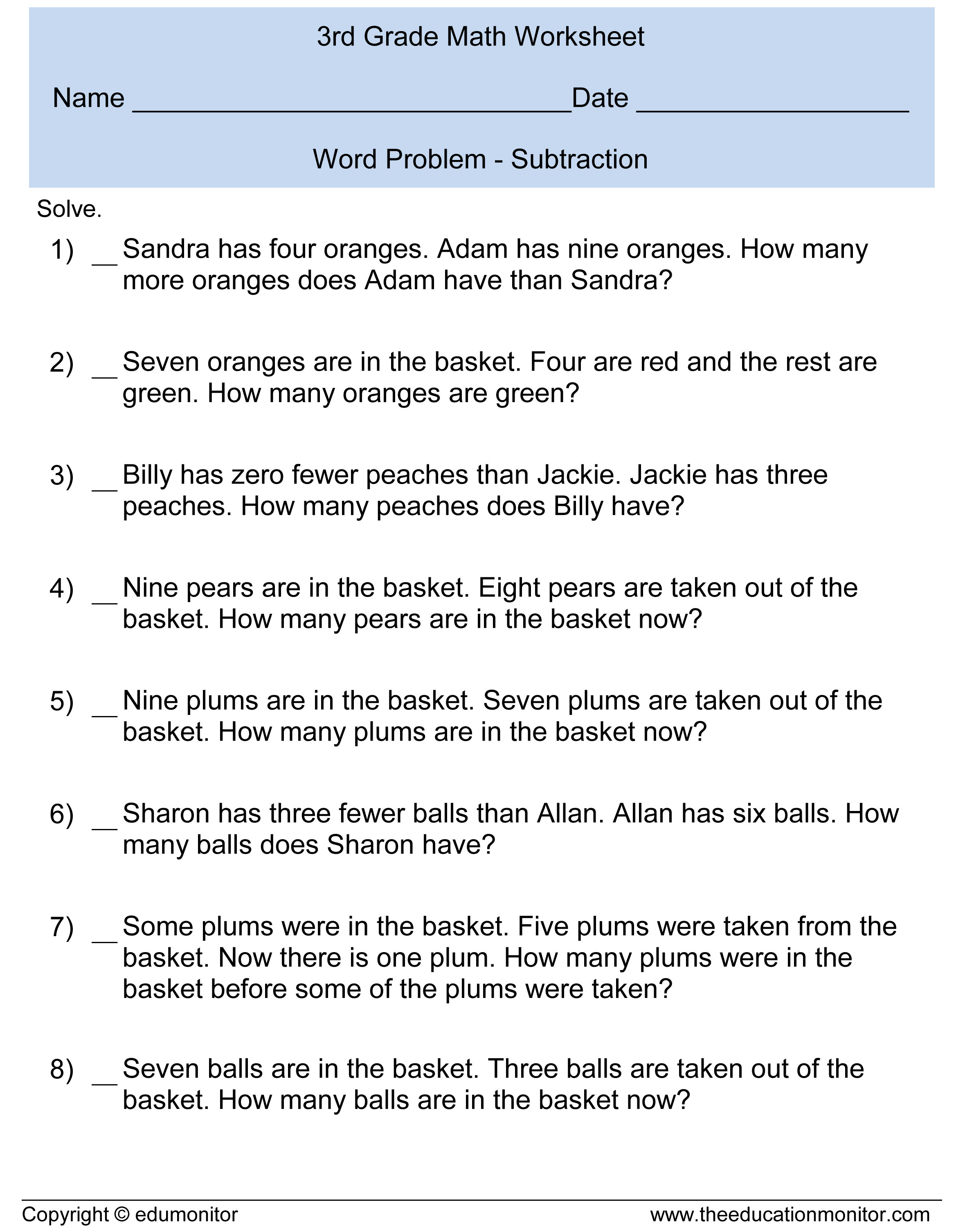 Third Grade Fraction Word Problems Subtraction Word Problems for Kids