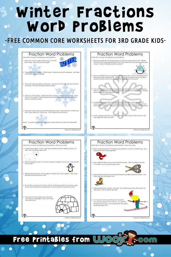 Third Grade Fraction Word Problems Winter Fractions Word Problems Worksheets for 3rd Grade