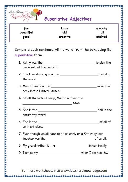 Third Grade Grammar Worksheet Grade Grammar topic Superlative Adjectives Worksheets Lets