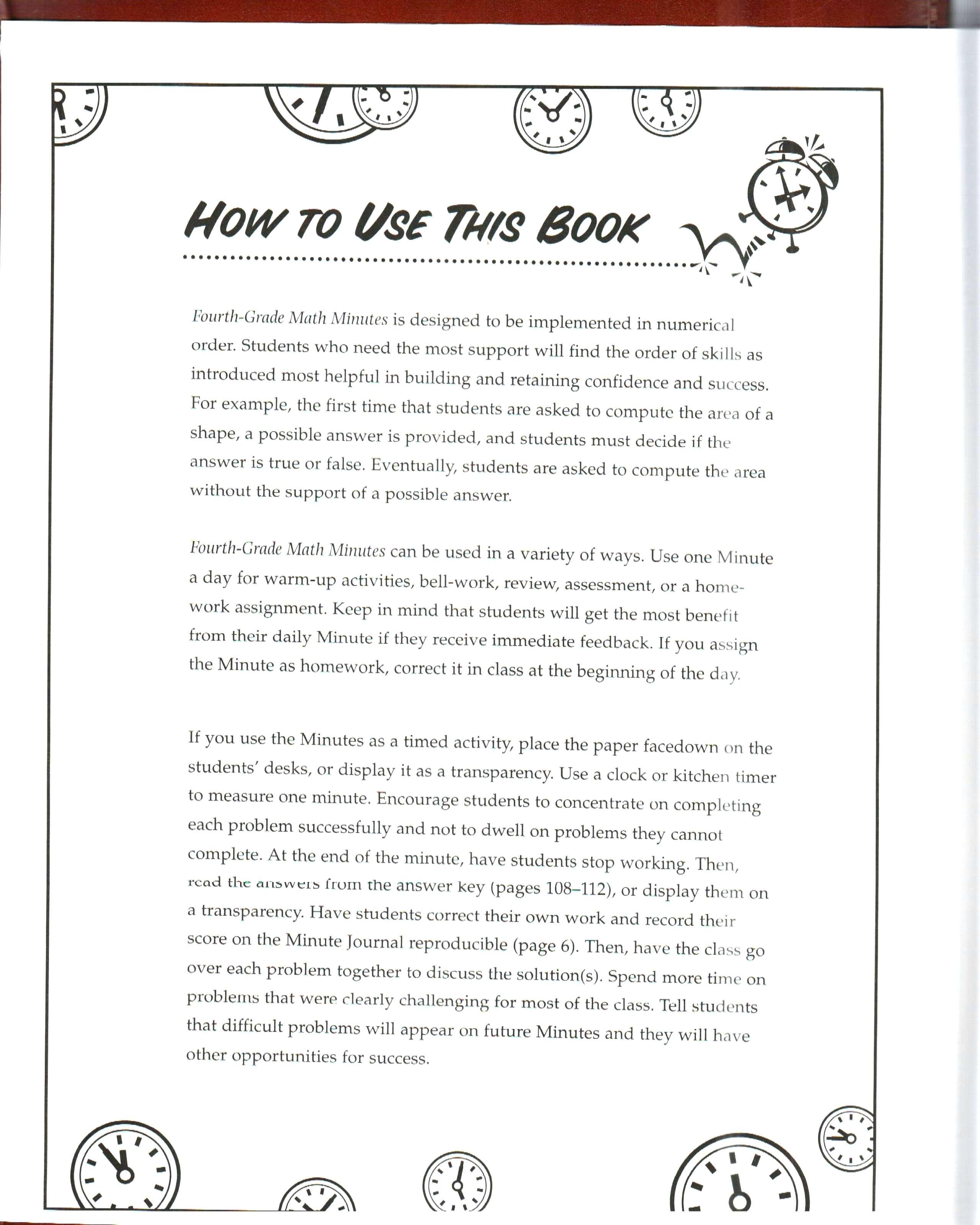 Third Grade Math Minutes 3rd Grade Daily Math Review Worksheets