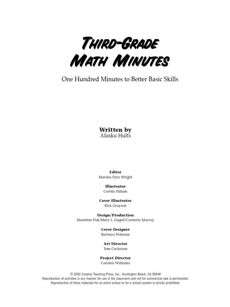 Third Grade Math Minutes Ctp2585s Behavior Modification