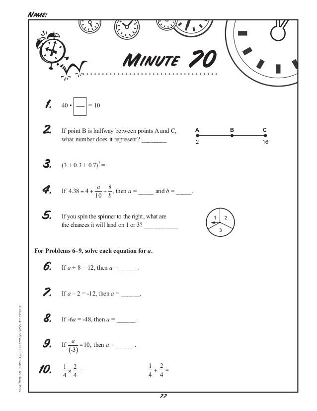 Third Grade Math Minutes Math Minutes