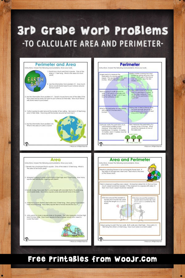 Third Grade Perimeter Worksheets area and Perimeter Word Problem Worksheets for Earth Day