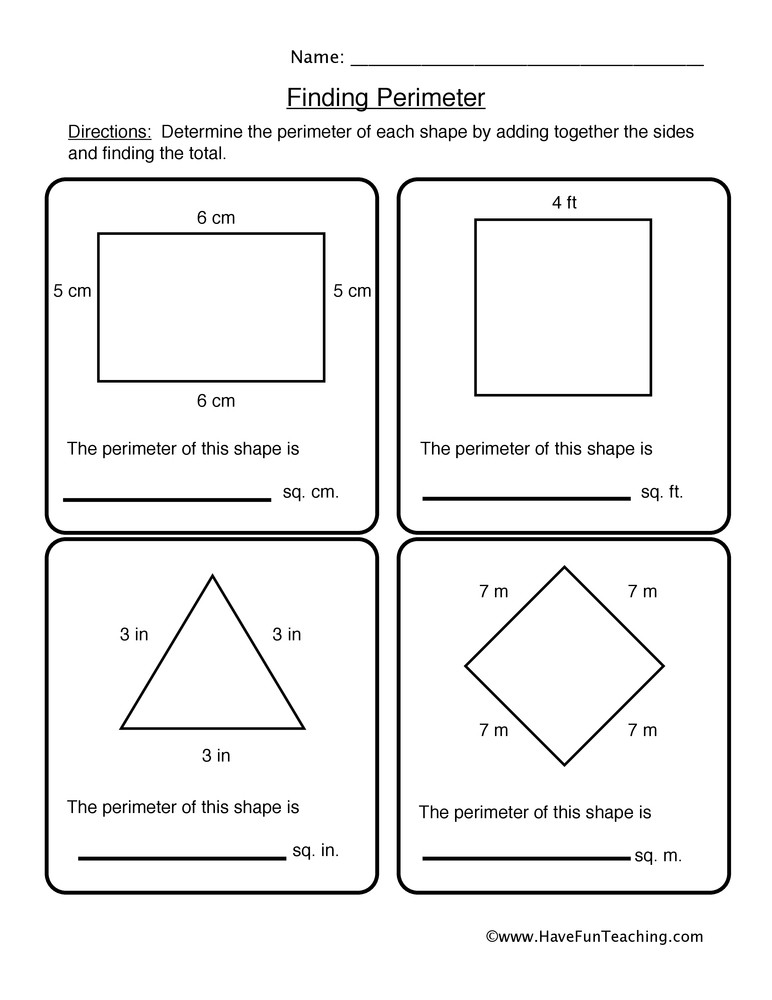 Third Grade Perimeter Worksheets Finding Shape Perimeter Worksheet