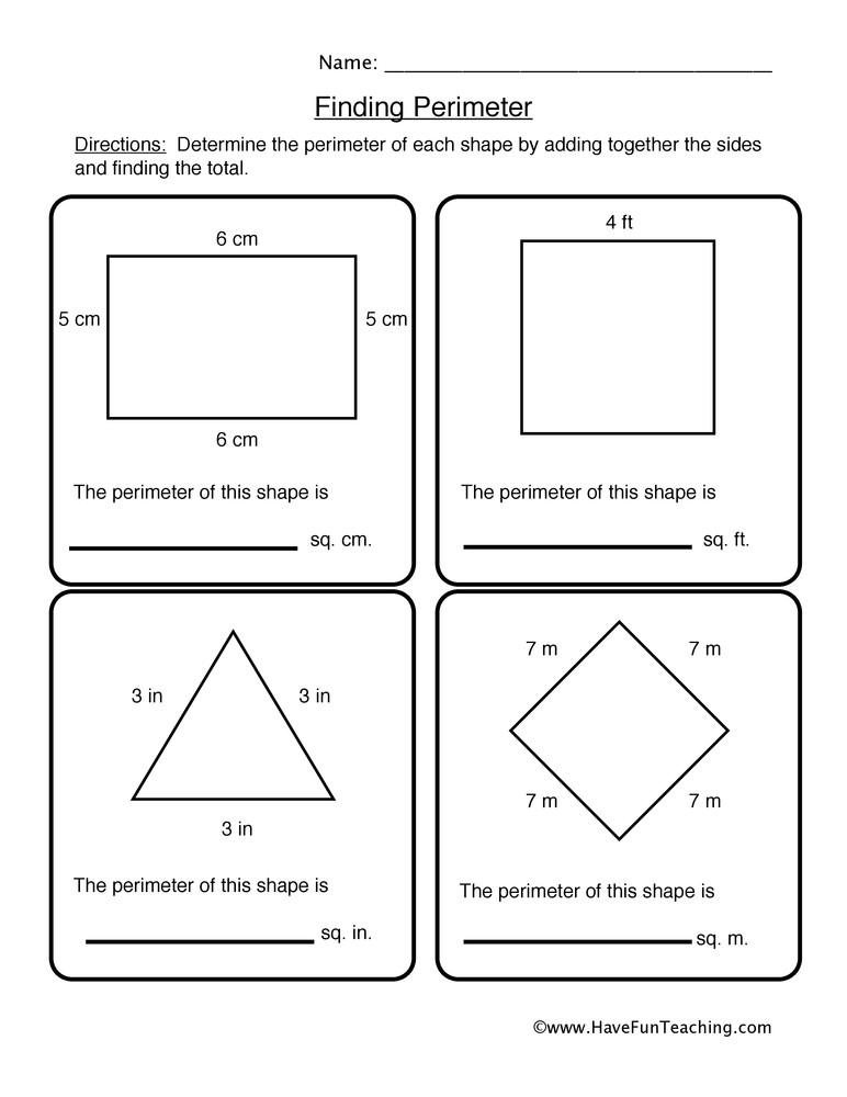 Third Grade Perimeter Worksheets Finding Shape Perimeter Worksheet