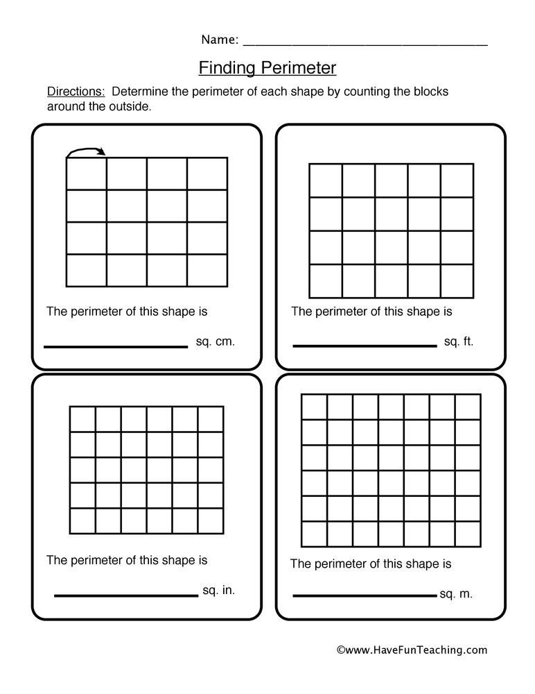 Third Grade Perimeter Worksheets Perimeter Shape Problems Worksheet