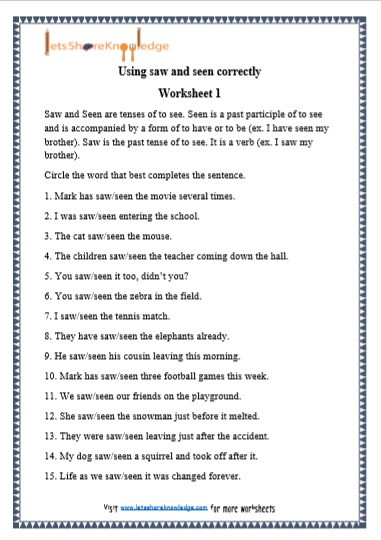 grade 1 grammar saw and seen printable worksheets