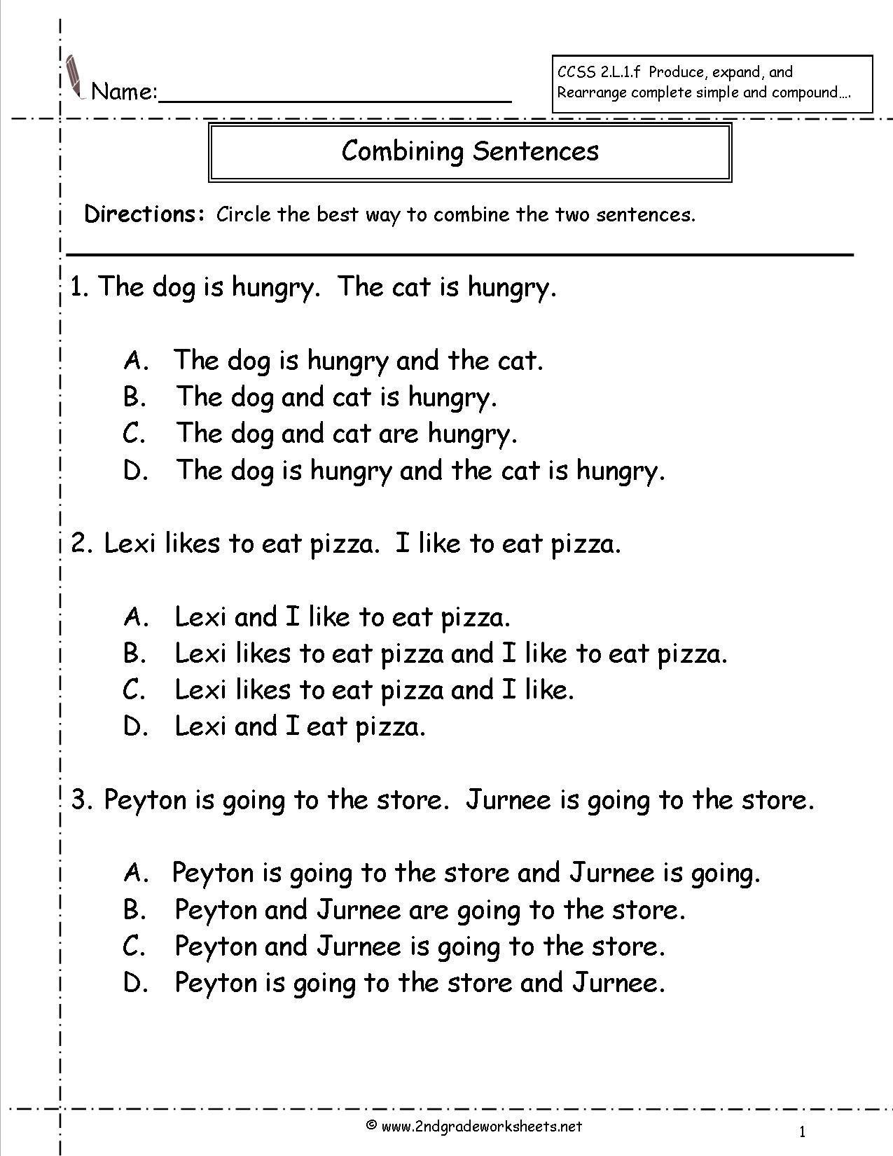 Topic Sentence Worksheets 2nd Grade Bining Sentences Worksheet with Images
