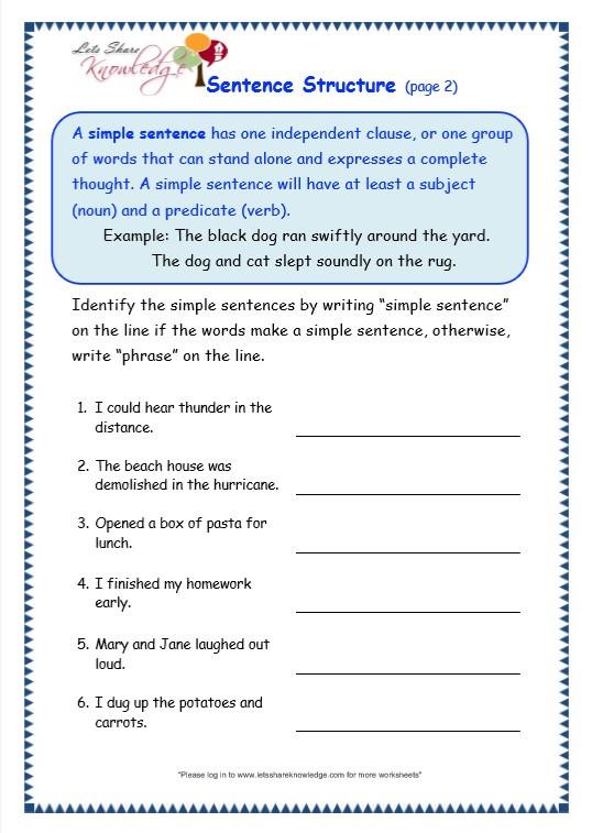 Topic Sentence Worksheets 2nd Grade Grade 3 Grammar topic 36 Sentence Structure Worksheets