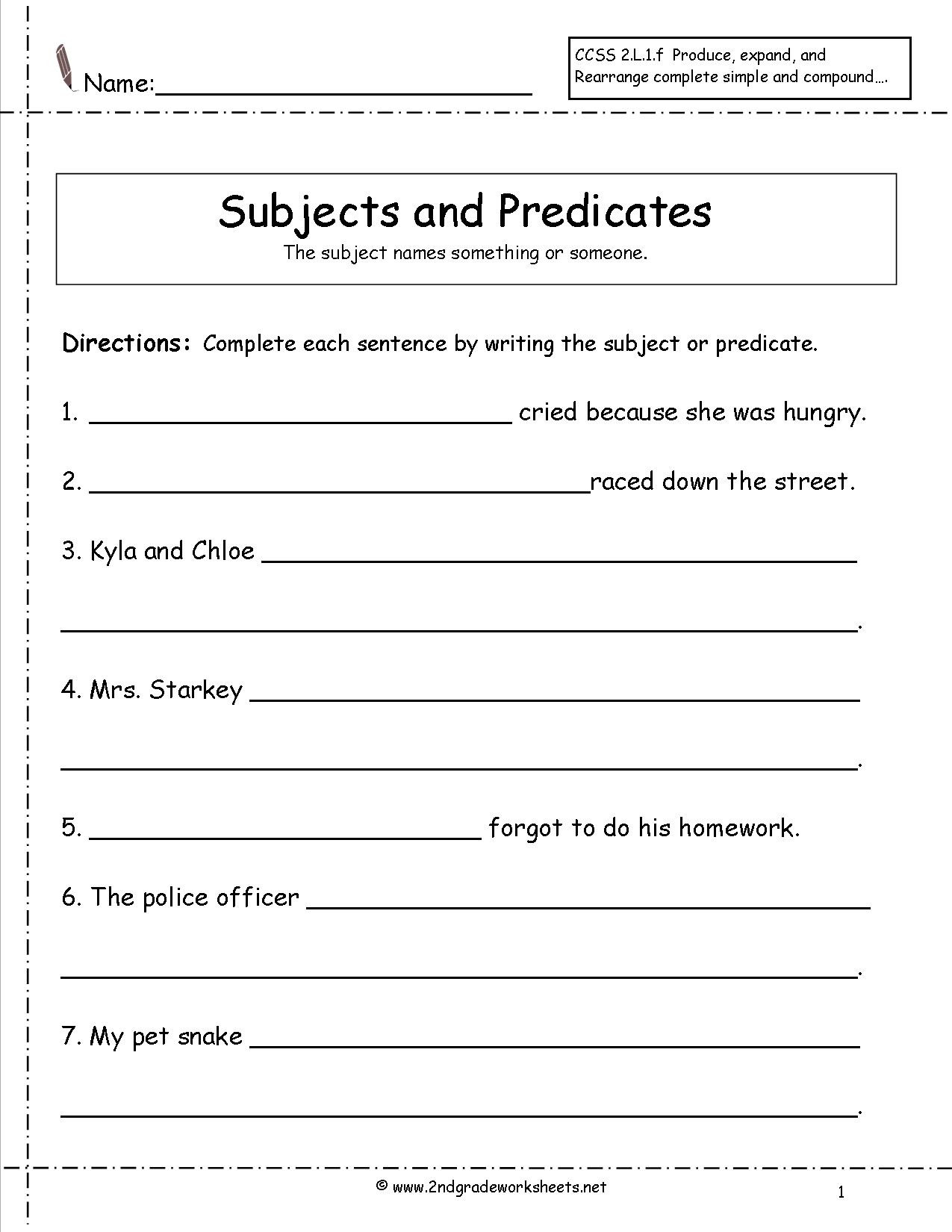 Topic Sentence Worksheets 2nd Grade Second Grade Sentences Worksheets Ccss 2 L 1 F Worksheets