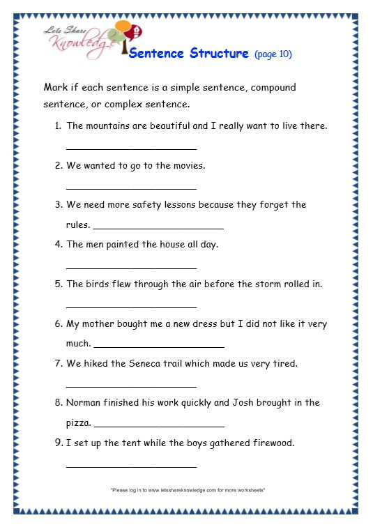 Topic Sentence Worksheets 3rd Grade Grade Grammar topic Sentence Structure Worksheets Lets 4th