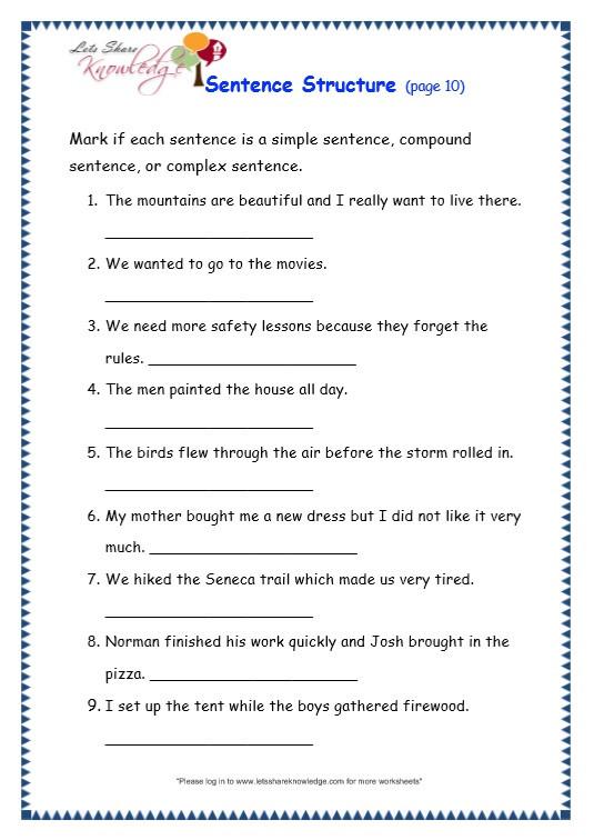 Topic Sentence Worksheets 4th Grade Grade Grammar topic Sentence Structure Worksheets Lets 4th