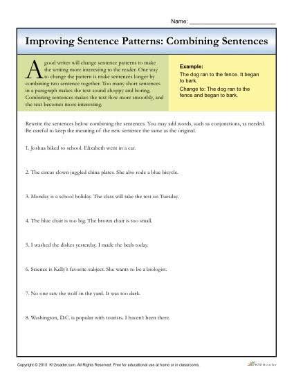 Topic Sentence Worksheets 4th Grade Sentence Patterns Bining Sentences
