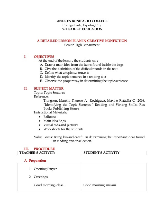 Topic Sentences Worksheets 3rd Grade Detailed Lesson Plan Reading and Writing topic Sentence