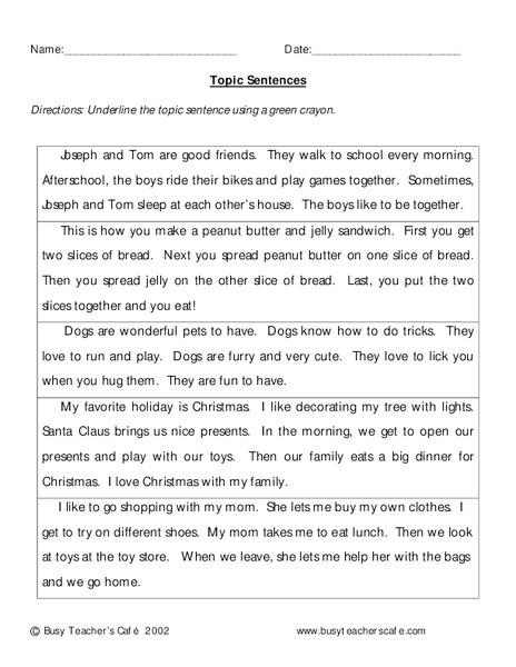 Topic Sentences Worksheets 3rd Grade topic Sentences Worksheet for 3rd Grade