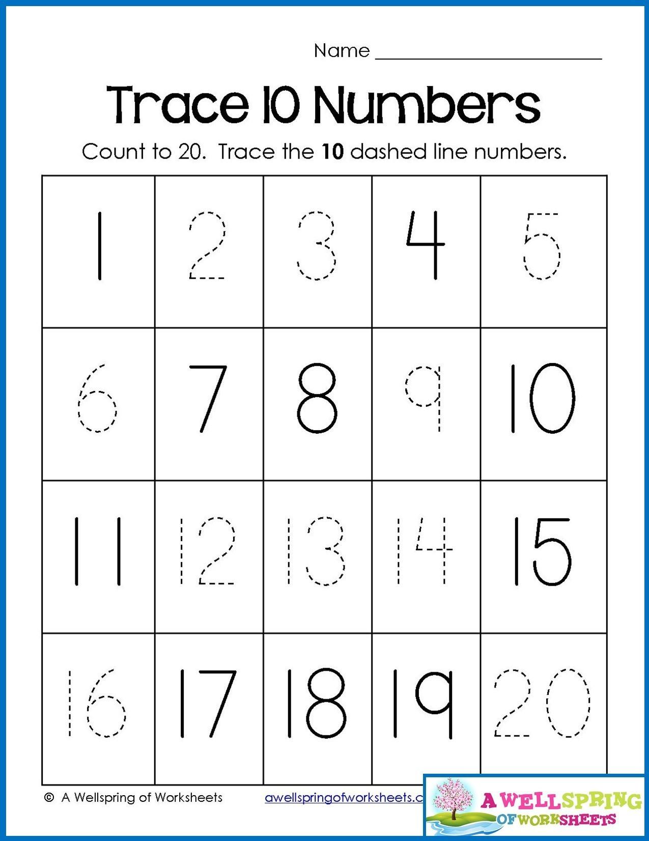 Tracing Numbers 1 20 Printable 4 Counting Worksheets Preschool 1 20 Worksheets Schools