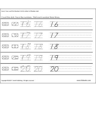 Tracing Numbers 1 20 Printable Count Trace and Print Numbers 1 20