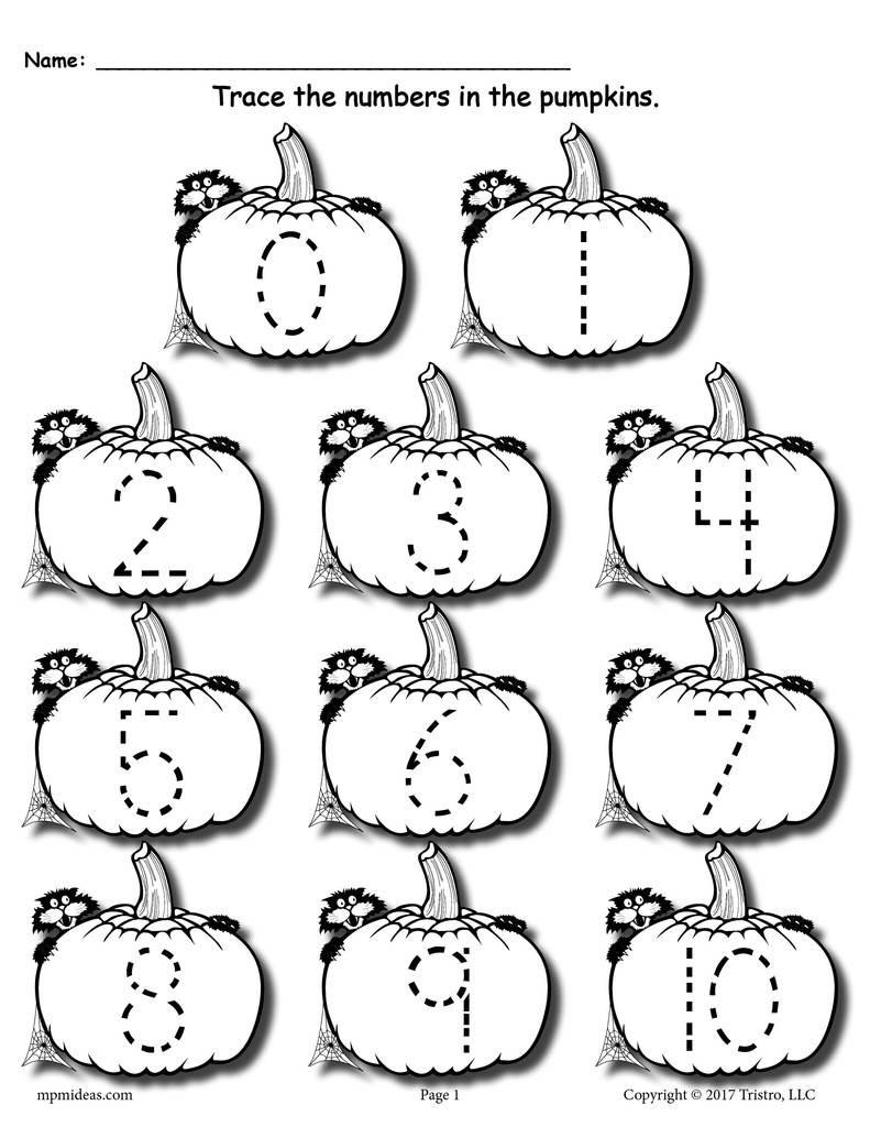 Tracing Numbers 1 20 Printable Printable Pumpkin Number Tracing Worksheets 1 20